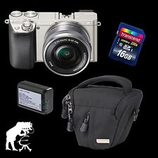 Sony Alpha ILCE-6000 + 16-50 mm OSS silber + 16 GB + 2. NP-FW50 + Black Stone