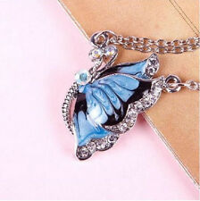 Gift Blue Crystal Butterfly Long Pendant Necklaces For Women Jewelry HUA#