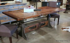 "84"" L Crank dining table industrial design old wood top iron base spectacular"