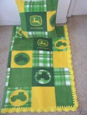 JOHN DEERE BLOCK SOFT BABY-TODDLER-BLANKET-FLEECE-CROCHET-EDGE-PILLOW-CASE