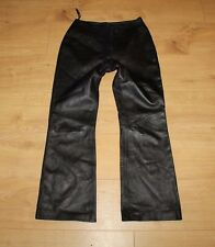 Black Real Leather Milan Zip Bootcut Biker Jeans Trousers Pants Size 8 / 36 L 28