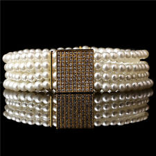 Fashion Small Gold Buckle Inlaying Rhinestone Pearl Elastic Belt Women'S Strap