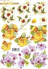 Roses, Orchid Flower 3D Die Cut Decoupage Sheet Card Making Craft NO CUTTING REQ