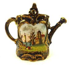 CONTINENTAL PORCELAIN WATERING CAN HAND PAINTED HARBOUR SCENE DRESDEN VIENNA