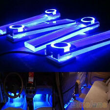 New Charm 4 In 1 12V Blue Car Atmosphere Lamp Charge LED Interior Floor Lights