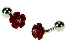 Red & Crystal Decorated Flower Cufflinks With Gift Pouch Rose Florist Present