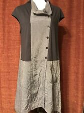 Redwood Court Women Dress XL Lagenlook Gray Silk Button