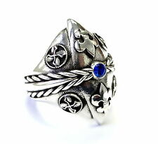 Men's Custom Blue Sapphire Silver Fleur De Li Ring With Angels Wings