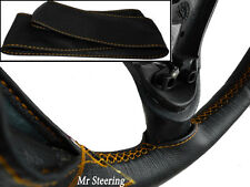 REAL BLACK LEATHER STEERING WHEEL COVER FOR DAF LF TRUCK (01-15) GOLD STITCHING