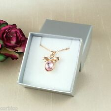N5 Rose Gold Plated Pink Crystals Bee Necklace  -  Gift boxed