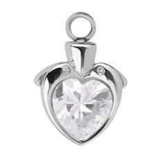 Heart Rhinestone Cremation Urn Ash Holder Memorial Necklace Pendant Jewelry