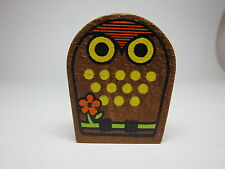 Vintage 60s Owl Painted Wood Tape Measure Made in Japan Flower CUTE