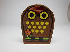 Vintage 60s Owl Painted Wood Tape Measure Made in Japan Flower CUTE