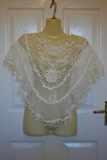 BNWT Size 8 10 12 Small Medium Vintage Cream Lace Bridal Shrug River Island