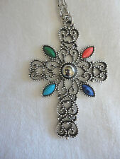 Vintage Silver Tone Metal Chunky Cross Pendant Necklace Signed Avon Retro Chic
