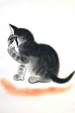 Newberry KITTEN LICKING Her PAWS 1936 BABY CAT Illustration Art Print Matted