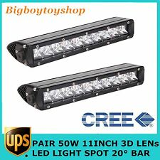 "Slim Single Row 2X11""50W 3D Led Light Bar Spot Offroad Boat Bumper 4WD Jeep Lamp"