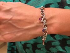 18k White Gold Double Link Bracelet Diamond Multi Color Sapphire Pink Briolette