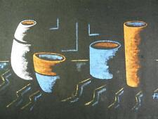 Tecnica mista immagine, natura morta, su lino, firmati A.H., 70 X, 40cm (f13j-84)