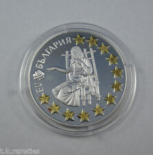 KM# 281 Commemorative 1 Euro 1,9 Lev 2005 Bulgaria Gilded in capsule certificate