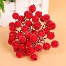 200pcs Mini Frosted Fruit Berry Artificial Christmas Tree Decor 13cm Red