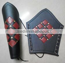 Leather greaves Armour Medieval Roman reenactment larp studded leg guard Pair