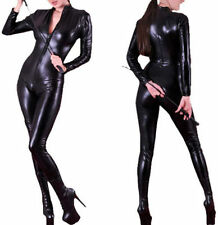 4 Way Zip Wetlook Sexy Shiny Black Stretch PVC/Latex Catsuit Size 8/ 10 Free P&P