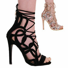 LADIES WOMENS HIGH HEEL CUT OUT STRAPPY FASHION FORMAL CASUAL PARTY SHOES SIZE