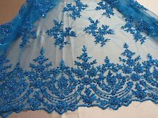 Turquoise Blue French Design Embroider And Beaded On A Mesh Lace. Wedding/Fabric