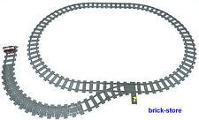 LEGO® Eisenbahn Schienenkreis mit Weiche/links gerade/Flex Schienen/Prellbock
