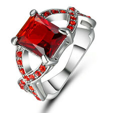Deluxe Jewelry Size 7 Antique Mens Red Garnet 18K White Gold Filled Cross Ring