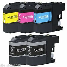5 Pk LC103 XL LC103BK Black & Color Printer Ink Cartridge for Brother MFC-J870DW