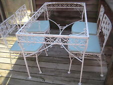 VINTAGE MID CENTURY WROUGHT IRON  PATIO SET SALTERINI WOODARD FOUR CHAIRS