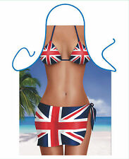 WOMENS SEXY NOVELTY APRON,UNION JACK SARONG BIKINI,AS BBQ APRON,BRITISH FLAG