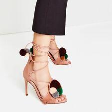 Brand New Zara Pom Pom Heels Sandals In Size 4 EU 37