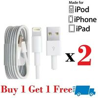 2 x Genuine Apple lead charger USB Data cable For iPhone 6 5C/S iPod Nano iPad