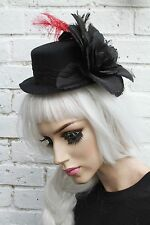 MINI TOP HAT FLOWER RED FEATHER SKULL GOTHIC GOTH EMO INDIE GRUNGE HALLOWEEN