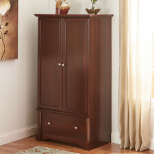 Cherry Finish Clothing Wardrobe Armoire Home Living Bedroom Storage Furniture