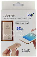 PQI 32 GB iConnect Lightning USB Flash Drive Windows Apple iPhone iPad Mac 32G