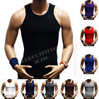 Men's Premium Cotton A-Shirt  Muscle Ribbed Wife Beater Tank Top T-Shirt Gym Tee