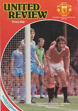 Football Programme MAN UTD v ARSENAL Oct 1980
