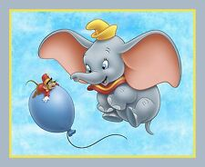 New Disney Dumbo Elephant Quilt top Wall hanging Panel Fabric Cotton Balloon