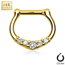 1 Pc 16g 14K Solid Gold 5 Clear CZ Gems Paved Septum Clicker Nose Ring Piercing