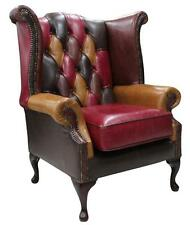 Chesterfield Patchwork Queen Anne Wing Chair Old English Aniline Leather