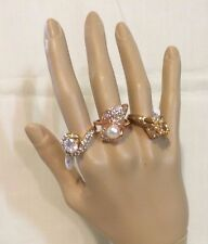 Beautiful Rhinestone  Fashion Rings Lot of 3 Rings size 8.5