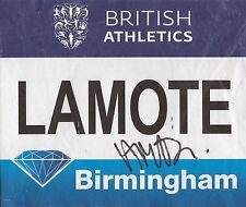 ATHLETICS: RENELLE LAMOTE SIGNED BIRMINGHAM DIAMOND LEAGUE 2016 WORN BIB+COA