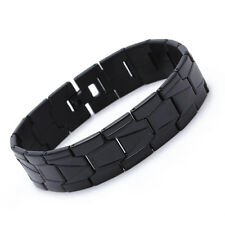 Men Stainless Steel Bracelet Bangle Link Wristband Black Party Fashion