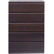 5 Drawer Chest of Drawers Dresser Storage Espresso Bedroom Furniture NEW