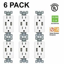 6 PacK TU2152A Power Outlet with USB Wall Charger Dual Receptacle Duplex Socket