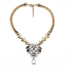 Vintage Style Bling Cluster Crystal Flower Ball Bronze Choker Necklace Chain